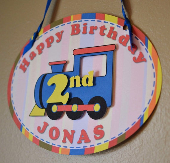 Train Birthday Party Decorations - DOOR SIGN   - Custom Message