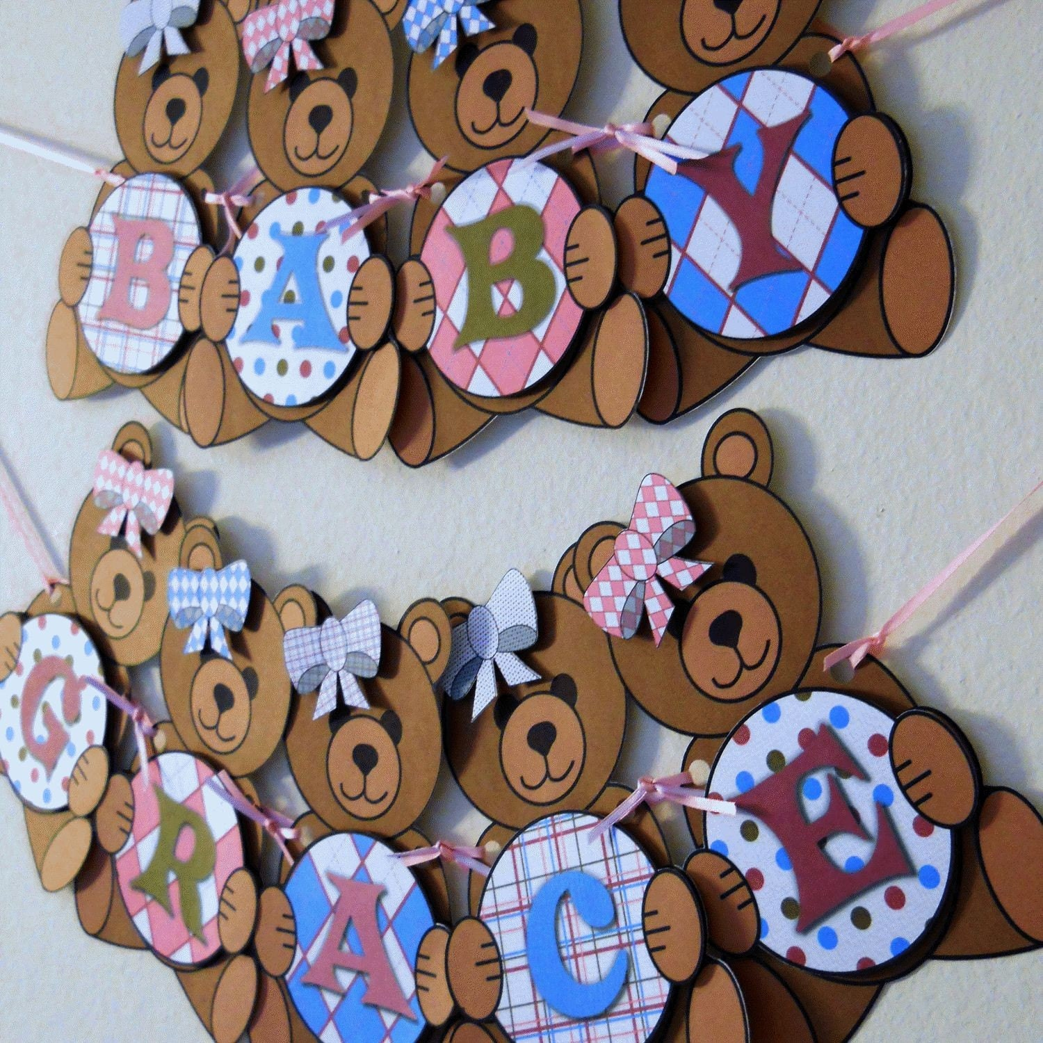 teddy bear baby shower banner party decorations custom words