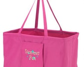 SHIPS NEXT DAY-- Monogrammed Hot Pink Ultimate Carry all Market Tote Basket --Great for the Beach, Pool or Boat--Free Monogramming--