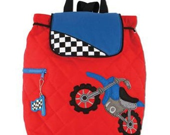 SHIPS NEXT DAY--Personalized Monogrammed -Stephen Joseph Quilted Motorcross Motorbike  Backpack--Free Monogramming--