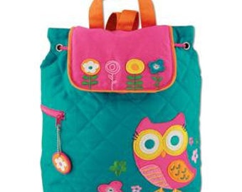 Personalized Monogrammed Stephen Joseph Quilted Teal Owl Backpack--Free Monogramming--