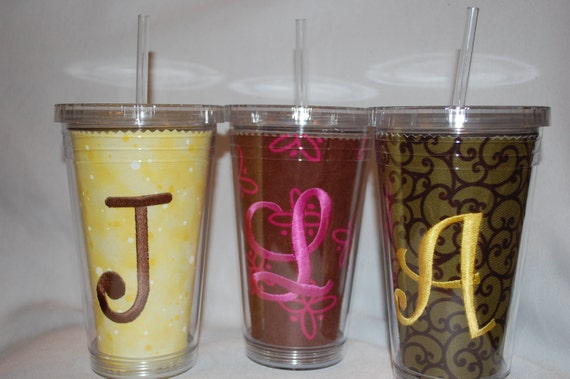 Monogrammed Double Walled Insulated Tumbler Cup with Straw 16 oz, many fabrics to choose from --FAST TURNAROUND--
