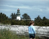 Girl and the Westport WA Lighthouse 8x10 Digital Watercolor Print