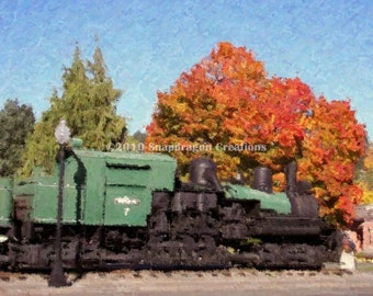Tollie Train Engine and the Fall Colored Maple Tree 8x10 Digital Watercolor Print