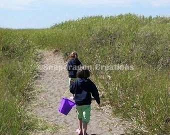 Girls Walking to the Beach on a Sandy Path through Beach Grass 8x10 Digital Print