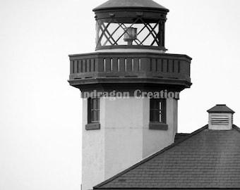 Lime Kiln Lighthouse Black & White Photograph