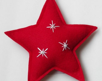 Red Felt Star Holiday Ornament
