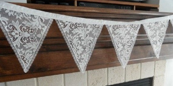 Wedding LACE Fabric Bunting Banner Decoration 11 FEET 14 Large Flags Garland NEW