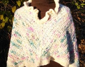 Poncho Warm Woolen Hand Knit Ruffled Neck Ivory Pink and Green