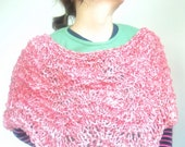 Knitted Poncho Vegan Anemone Pink Lacy Rowan Chunky Cotton Braid