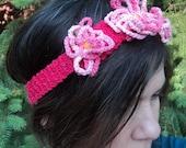 Vegan Flower Hairband Stretchy Hand Knit