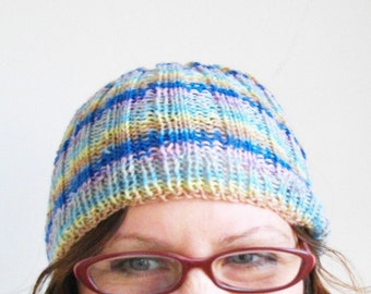 Knitted Hat Skull Cap Pastel Rainbow Striped Beanie