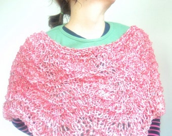Knitted Poncho Vegan Anemone Pink Lacy Rowan Chunky Cotton Braid