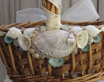 Custom Beach Wedding Flower Girl Basket in Natural with Sea Shells and Starfish