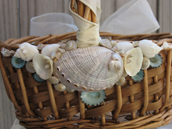 Made to Order Beach Wedding Flower Girl Basket in Natural with Sea Shells and Ribbon