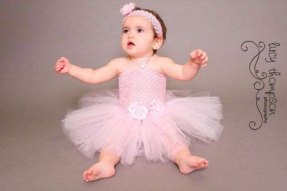 Baby tutu dress--Pink tutu dress with rose clips and matching headband--Birthday parties--Photo props---Easter Tutu Dress