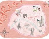 5x7 Map of Paris