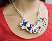 CLEARANCE Nautical Folded Fabric Necklace- with anchor and adjustable rope tie