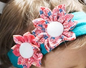 Double Folded Flower- turquoise baby girl stretch headband