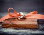 Wedding Ring Pillow Alternative- Wood and Ribbon Ring Holder