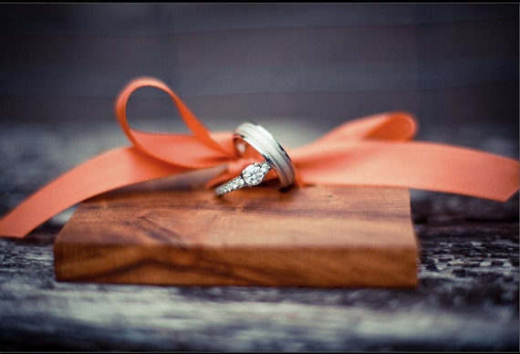Wedding Ring Pillow Alternative- Wood and Ribbon Ring Holder