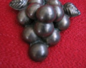 "Ana Sosa Mexican Silver Repousse Cluster of Grapes Brooch Pin 2 1/2"" x 2"""