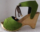 SALE Green Suede Clog Shoe Wedge Sandal by Karen Kell Collection