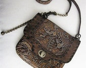 Convertible 3 in 1 Hip Bag Shoulder Bag Cross Body Bag  in Embossed Brown n Gray Leafy Leather  with Dark Brown Leather Trim
