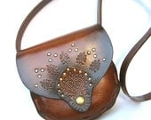 SALE Tooled Indian Style Leather Vegetable Tan Cross Body Bag in Dark Brown L