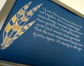 Calligraphy Custom Art - Pheasant Feathers