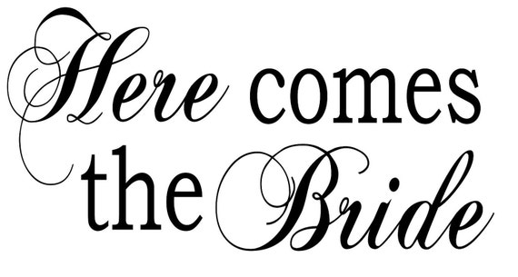 items similar to here comes the bride vinyl lettering for diy wedding sign choose your vinyl