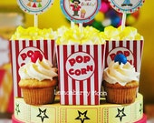 Printable Carnival Circus Popcorn Box -  Party Favors - INSTANT DOWNLOAD