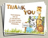 Zoo Thank You Card - Printable Thank You Card