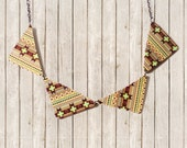 Fall Fashion Geometric Tribal Jewelry Bunting Bib Necklace - One Dog Night Collection - OOAK Boho Pendant Retro Gunmetal Chain