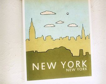New York // Nursery Decor, Art Poster, Typography Print, NYC, City Skyline, Giclee, Kids Room, Travel Theme, Map, Digital Print, Loft
