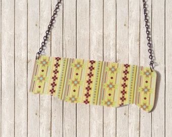 Fall Fashion Boho Tribal Statement Jewelry Pendant Art Necklace - One Dog Night Collection - OOAK Boho Pendant Retro Gunmetal Chain