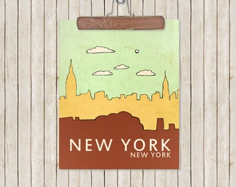 New York, New York // Nursery Decor, Skyline Poster, Typography Print, Giclee, Travel Theme, Digital, Trendy, Modern Loft, Hipster Art