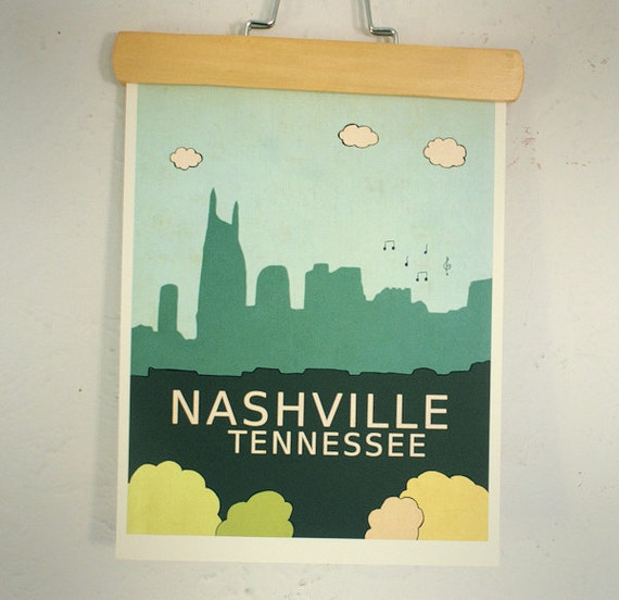 Nashville (IL) United States  city photos : ... Poster, Typography Print, Giclee, United States Travel Theme, Music