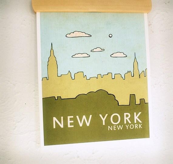 New York // Nursery Decor, Art Poster, Typography Print, NYC, City Skyline, Giclee, Kids Room, Travel Theme, Map, Digital Print, Loft