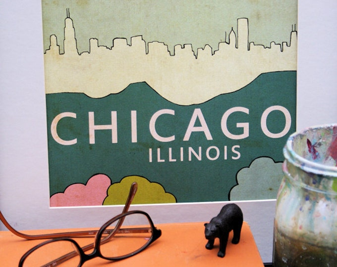 Chicago Poster Wall Art // Chicago No.3 // Travel City Skyline Illustration and Typography Print