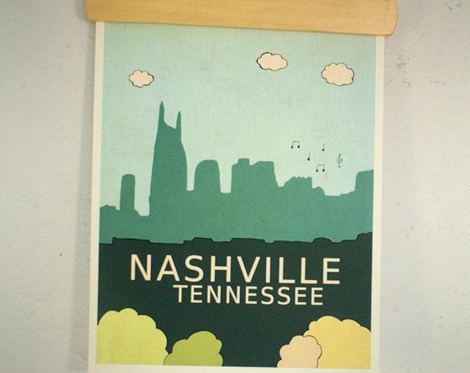 Nashville Tennessee // Trendy Modern Nursery Decor, City Skyline Poster, Typography Print, Giclee,  United States Travel Theme, Music