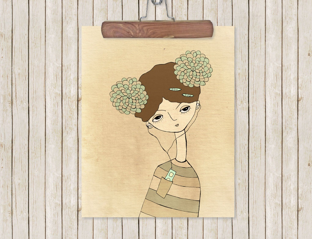 Home decor wall decor quirky musical art portrait girl for Home decor quirky