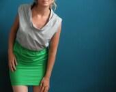 colorblock dress ash gray/ kelly green
