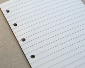 Lined Notepaper inserts - Fits Filofax or Organiser - white - A5/personal/pocket/mini