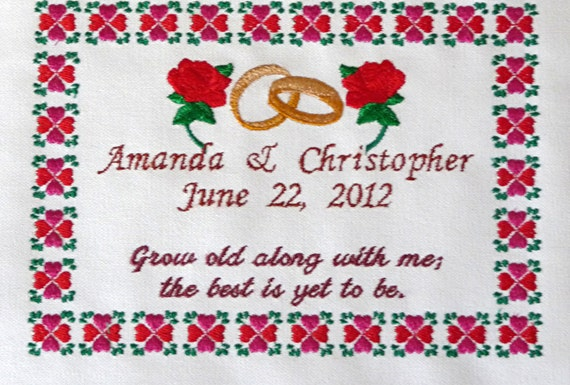Items similar to wedding anniversary embroidery sampler