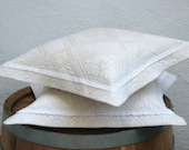 Set of  2-Natural,Quilted,Pure Cotton Cushion Cover,Pillow Cases-Ivory Lace-Natural Cream,Gold