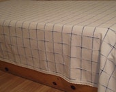 Twin Size Bed Spread,Bed Cover,Throwover or Tablecloth-Natural Cream and Blue Checked