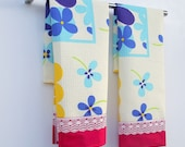 Set of 2 Tea Towels,Guest Towels ,Kitchen Towels or Hand Towels-Cream,Blue,Red,Apple Green,Yellow