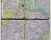 Kentucky Map Rustic Coasters