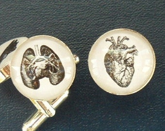 Vintage Anatomy Cuff Links - Lung or Heart